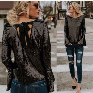 Black sequin long sleeve blouse